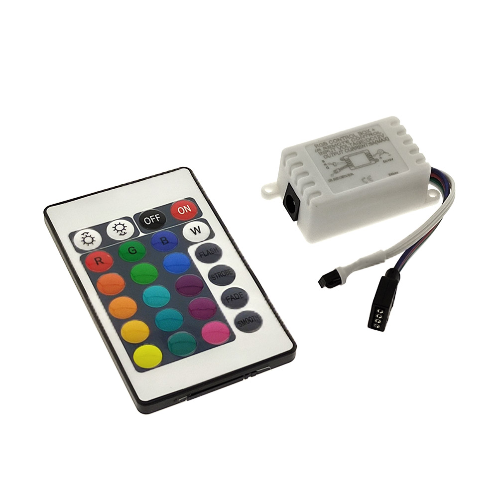RGB LED controller, Dimmer IR with remote control (24 keys)